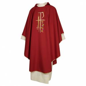 Chasubles: Chasuble sacerdotale 100% polyester croix épis feuille