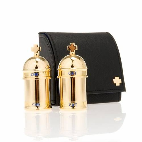 Chrismatory set: 2 holy oil containers case blue inside s1