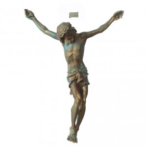 Reconstituted marble religious statues: Christ's body marble dust finished in bronze