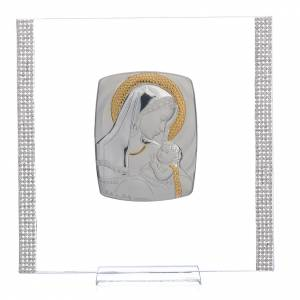 Bonbonnière: Christening favour with maternity image in silver and rhinestones 17.5x17.5cm