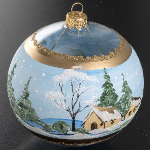 Christmas bauble, blown glass with painted snowy town 10cm s2