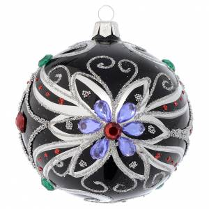 Christmas balls: Christmas bauble in blown glass with floral silver and black decoration 100mm