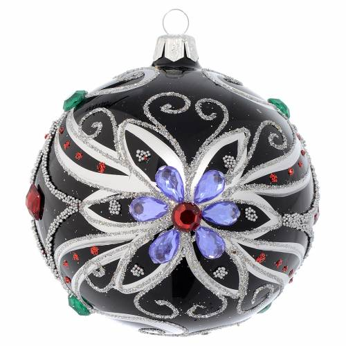 Christmas bauble in blown glass with floral silver and black decoration 100mm s1