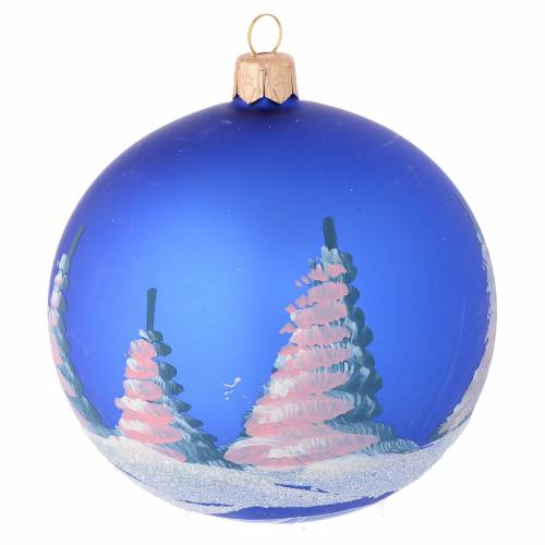 Christmas bauble in blue blown glass with decoupage landscape 100mm s2