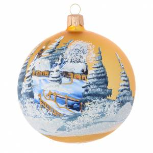 Christmas bauble in golden blown glass with decoupage landscape 100mm s1