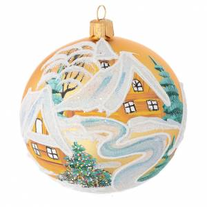 Christmas bauble in golden blown glass with houses 100mm s1