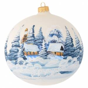 Christmas bauble in ivory blown glass with landscape 150mm s1