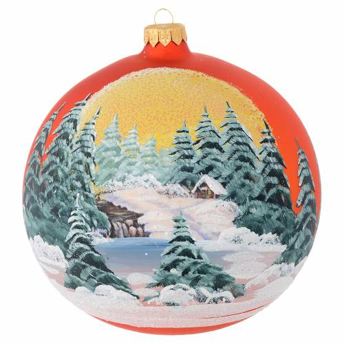 Christmas bauble in orange blown glass with decoupage landscape 150mm s1