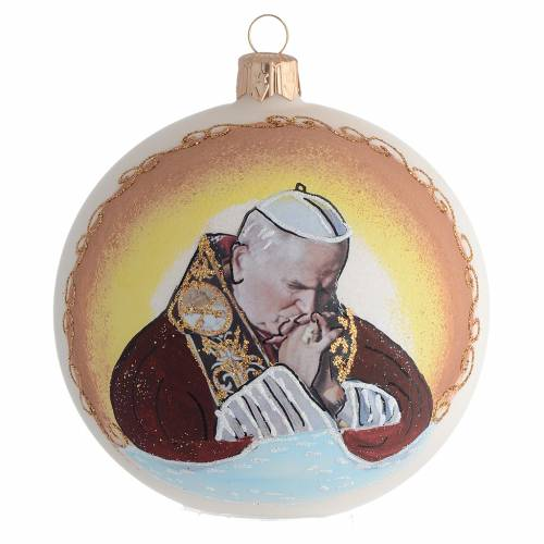 Christmas Bauble John Paul II blown glass 10cm s1