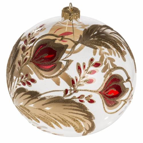 Christmas bauble, transparent blown glass and red gold flower 15 s1