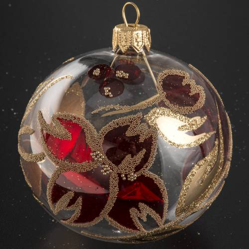 Christmas bauble, transparent glass with red gold flower 8cm s2