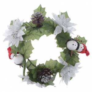 Christmas home decorations: Christmas candle embellishment for classic candles, pine cones and snowmen