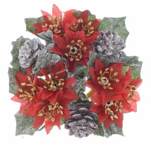 Christmas home decorations: Christmas candle embellishment for spheric candle, pine cones and red stars