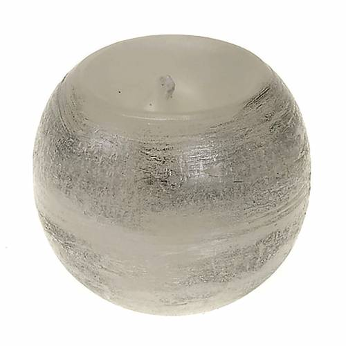 Christmas candle, round, silver shades s1