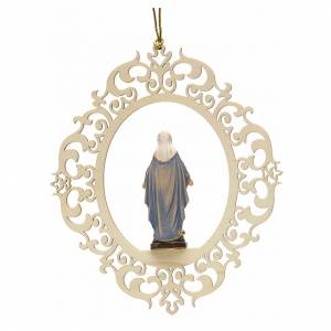 Christmas decor Our Lady of Graces engraved wood s2