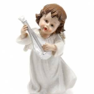 Christmas decoration, white angel with mandolin 14 cm figurine s1
