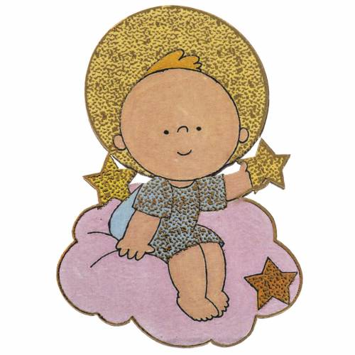 Christmas Magnet in wood, baby Jesus with star s1