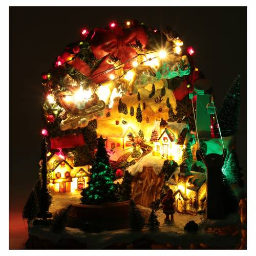 christmas scene with lights and moving train 30x30x25 cm - Moving Christmas Lights