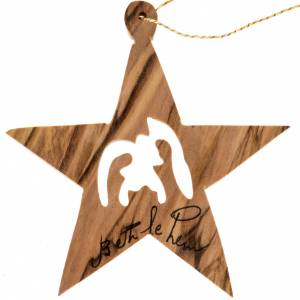 Christmas tree ornaments in wood and pvc: Christmas star decoration Holy Land olive wood