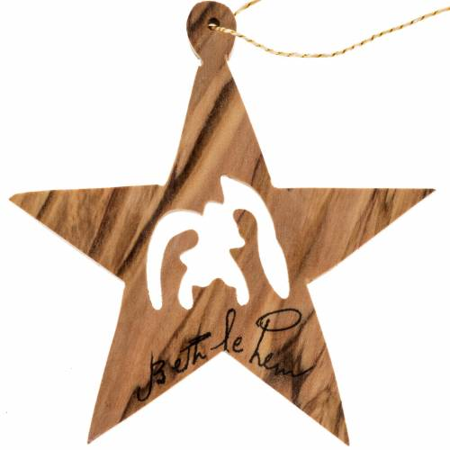 Christmas star decoration Holy Land olive wood s1