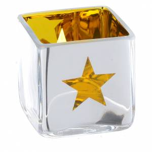 Christmas Tea light holder, square with yellow decoration s2