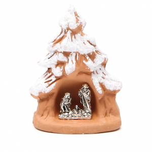Terracotta Nativity Scene figurines from Deruta: Christmas Tree and Nativity in terracotta with snow 7x5x4cm