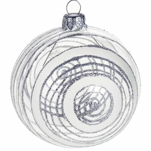 Christmas tree bauble in glass with silver decor 8cm s1
