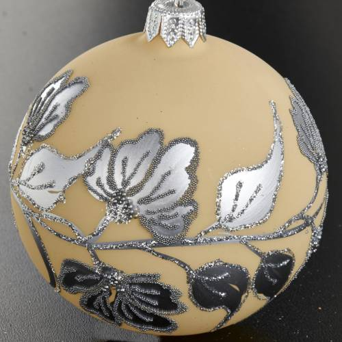 Christmas tree bauble, silver and ivory blown glass 8cm s2