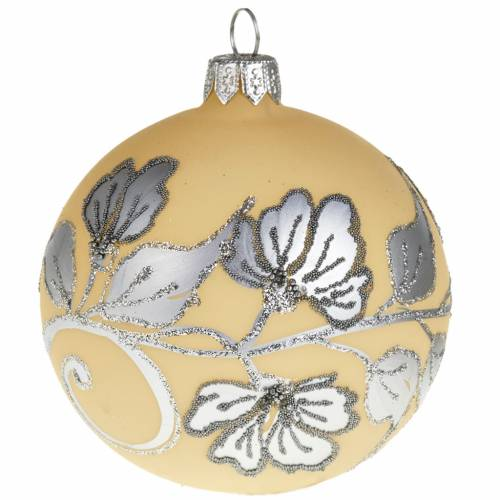 Christmas tree bauble, silver and ivory blown glass 8cm s1