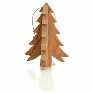 Christmas tree ornaments in wood and pvc: Christmas tree decoration in Holy Land olive wood, fir tree