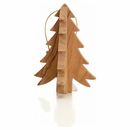Christmas tree decoration in Holy Land olive wood, fir tree s1