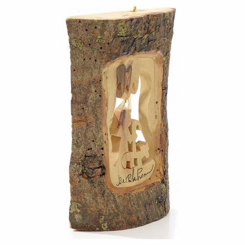 Christmas tree decoration in Holy Land olive wood, trunk with sh s2