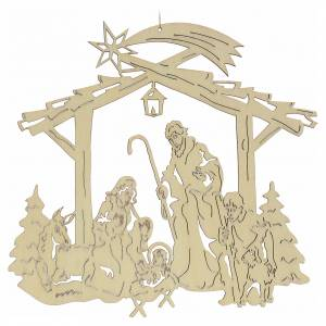 Christmas tree ornaments in wood and pvc: Christmas tree decoration, nativity