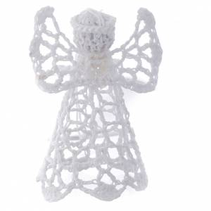 Christmas tree ornaments in wood and pvc: Christmas tree decoration with embroidered angel, white