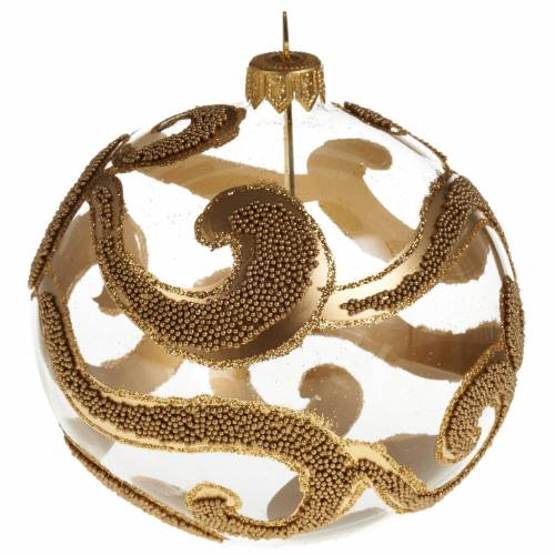 Christmas tree glass bauble, gold and glitter decorations 10cm s1