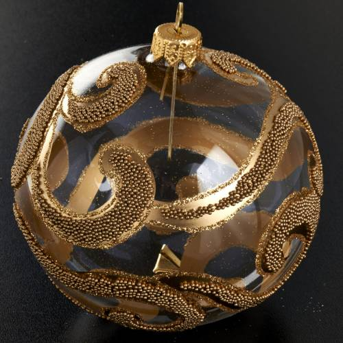 Christmas tree glass bauble, gold and glitter decorations 10cm s2
