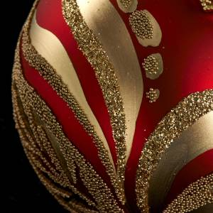 Christmas tree glass bauble, red and gold 6cm s3