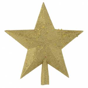 Christmas tree ornaments in wood and pvc: Christmas Tree topper with golden glitter star