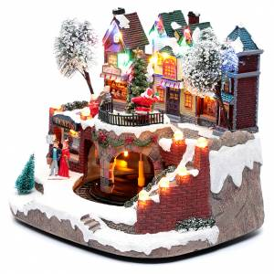 Christmas villages sets: Christmas village with moving train 25x25x20 cm