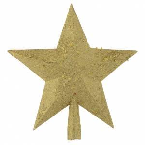 Décorations sapin bois et pvc: Cimier sapin Noël étoile paillettes dorées