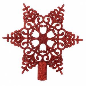 Décorations sapin bois et pvc: Cimier Sapin Noël flocon de neige rouge