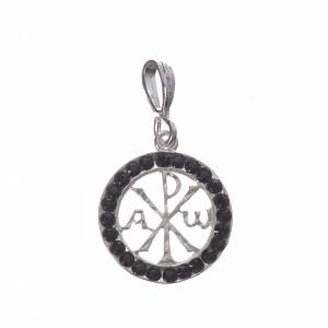 Pendenti, croci, spille, catenelle: Ciondolo argento 800 e Swarovski nero