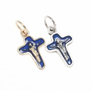 Pendenti croce metallo: Ciondolo croce metallo 18 mm smalto blu Maria e Cristo
