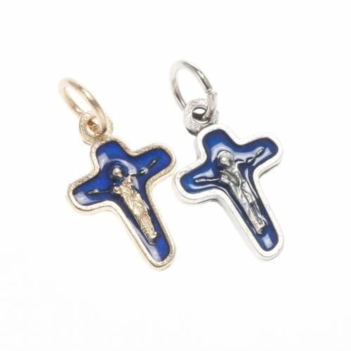 Ciondolo croce metallo 18 mm smalto blu Maria e Cristo s1