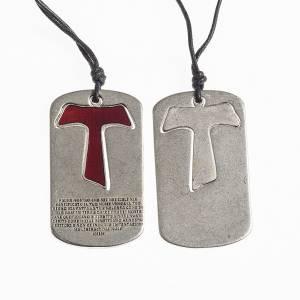 Pendenti croce metallo: Ciondolo Croce Tau Padre Nostro smalto rosso