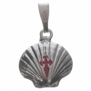 Pendenti, croci, spille, catenelle: Ciondolo medaglia argento 800 conchiglia Santiago de Compostela