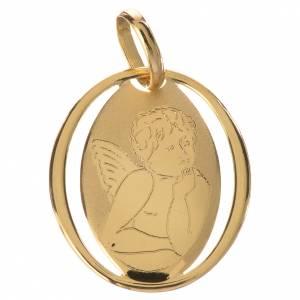 Pendenti, croci, spille, catenelle: Ciondolo ovale con angelo di Raffaello oro 750/00 - gr.0,66