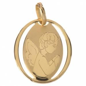 Pendenti, croci, spille, catenelle: Ciondolo ovale con angelo in preghiera oro 750/00 - gr. 0,72