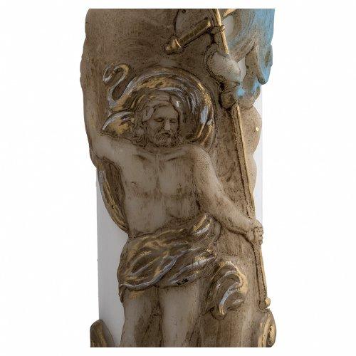Cirio Pascual blanco Jesucristo Resucitado cordero oro y rojo cruz 8x120 cm s4