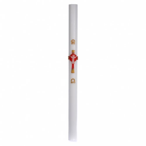 Cirio Pascual cera blanca Jesucristo Resucitado rojo 8x120 cm s3